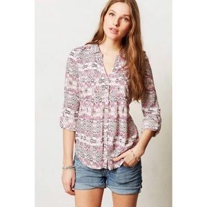 Anthropologie Mosaic Print Button Down by Maeve